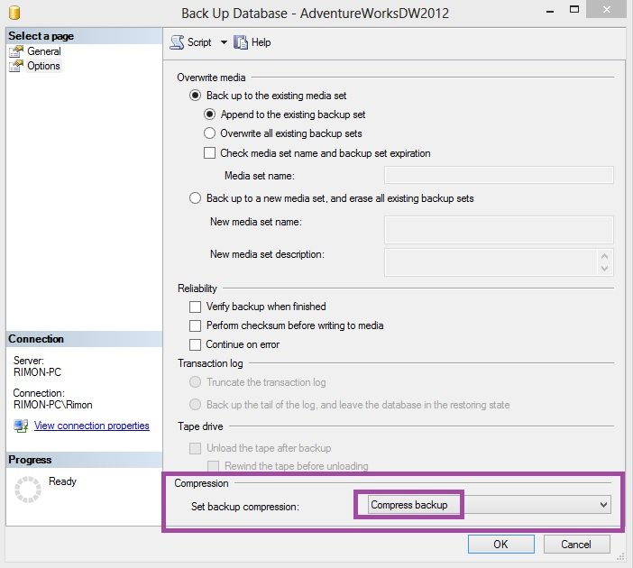גיבוי SQL Server